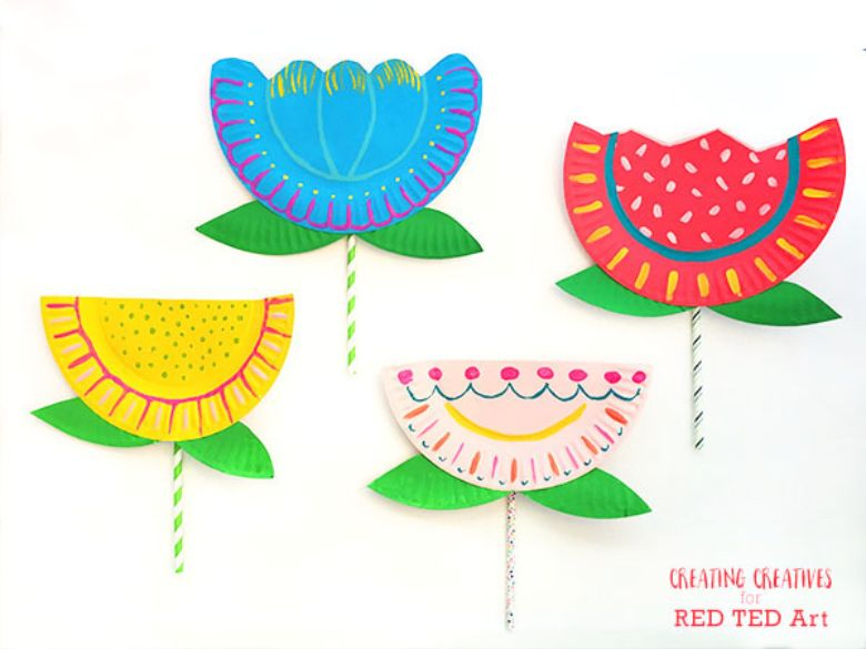 painted paper plate flower craft