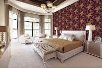 Giấy dán tường màu đỏ giành cho phòng ngủ siêu đẹp