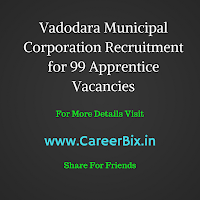 Vadodara Municipal Corporation Recruitment for 99 Apprentice Vacancies