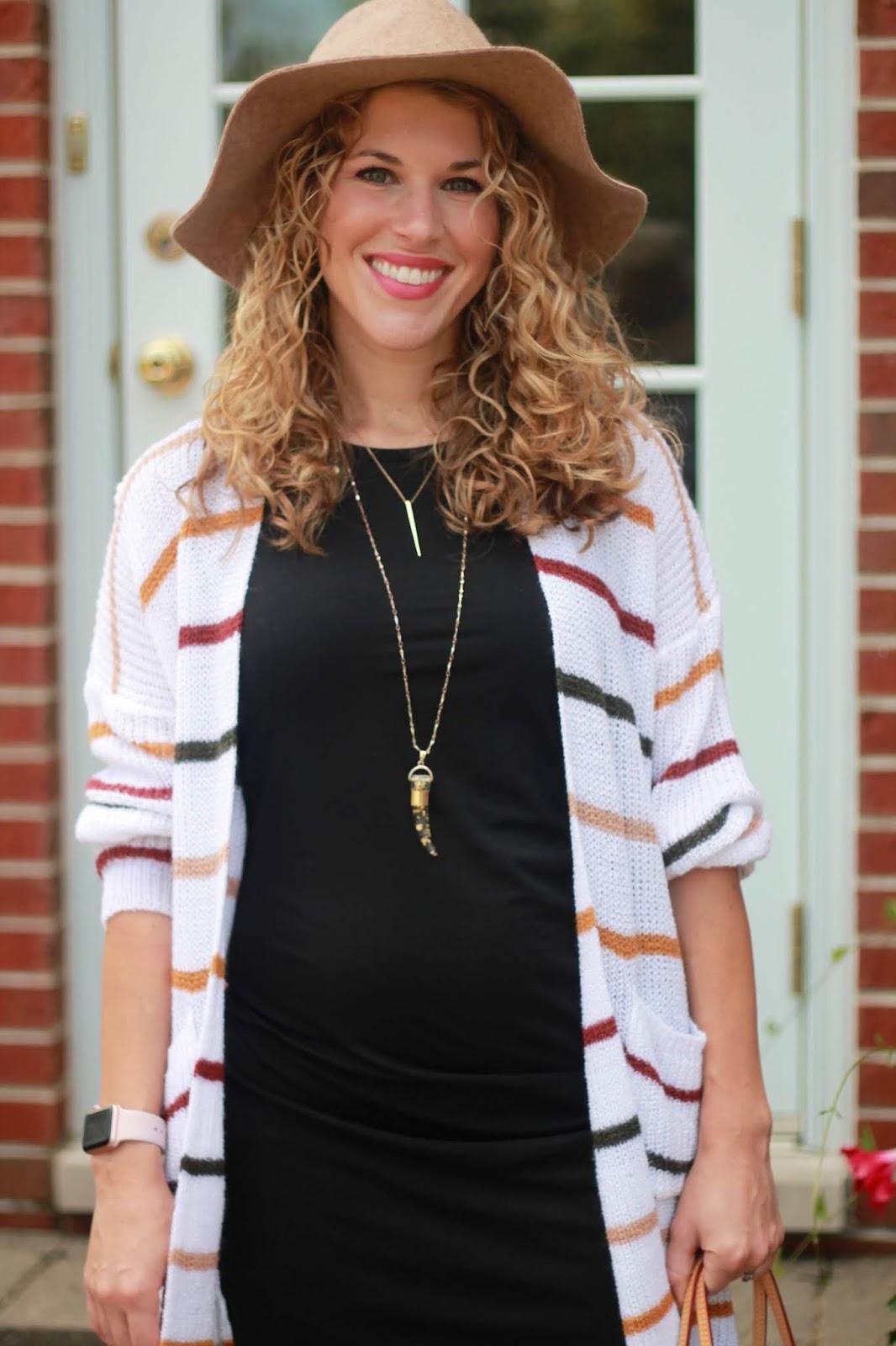 black ruched dress, striped cardigan, burgundy croc booties, LV azure neverfull, tan felt wide brim hat
