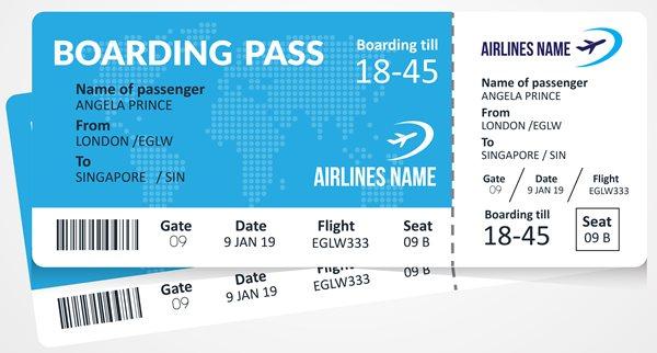 Karta pokładowa - Bilet lotniczy