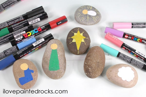 This brightly painted rock nativity set is a simple craft that is perfect for kids to make during Christmas break.