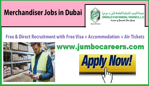 Latest delivery staff vacancies in UAE, Dubai merchandiser jobs,