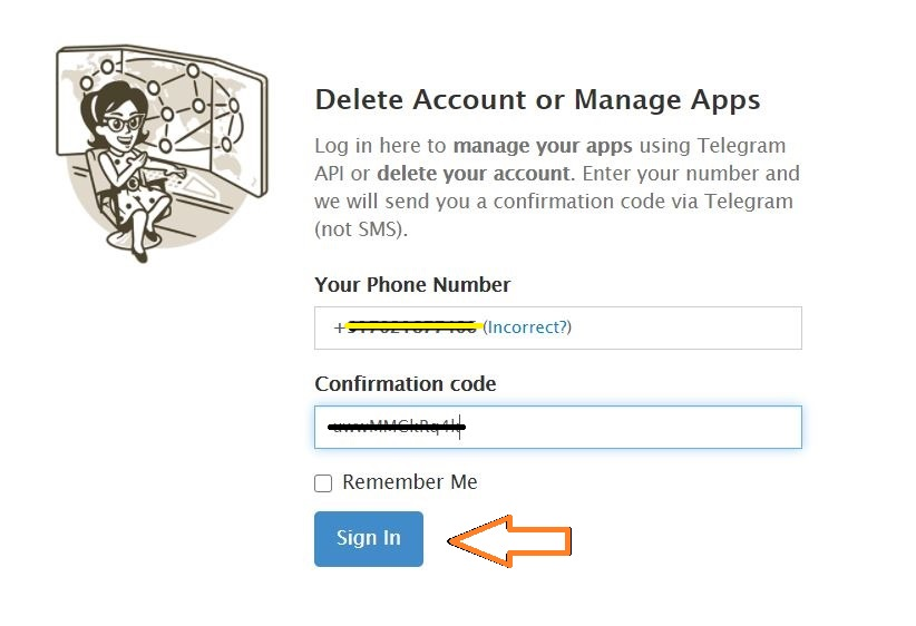 Enter Confirmation Code - Delete Telegram Account- Step-By-Step Guide