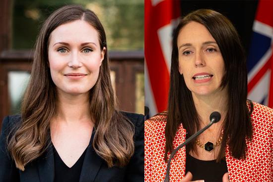 As primeiras-ministras Sanna Marin (Finlândia) e Jacinda Ardern (Nova Zelândia)