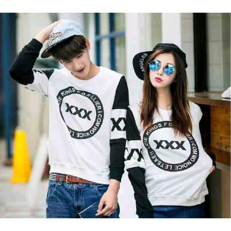 Jual Online Sweater Triple X White Black Couple Murah Jakarta Bahan Babytery Terbaru