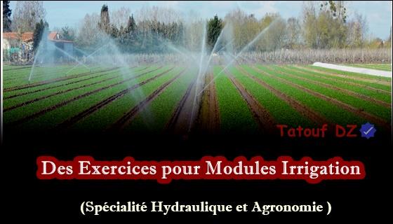 exercices pour les agronomes et hydrauliciens