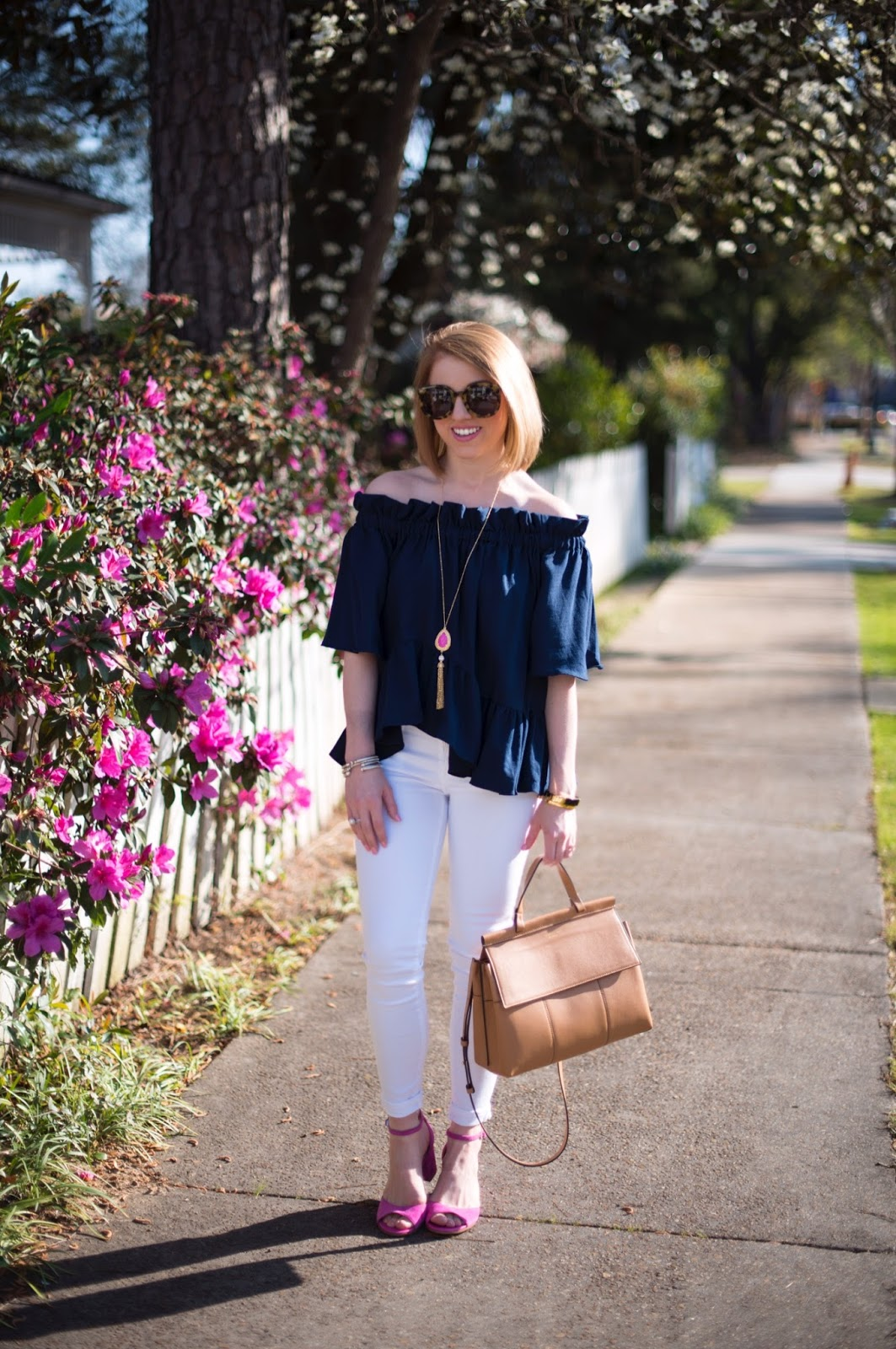 Navy, white and pink outfit - Click through to see more on Something Delightful Blog!
