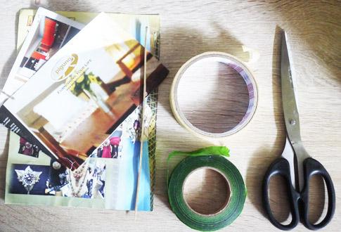 bahan membuat bunga kertas brosur majalah