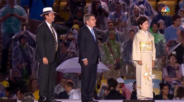 Yuriko Koike handing off Tokyo Japan Rio 2016 Olympic Games Closing Ceremony
