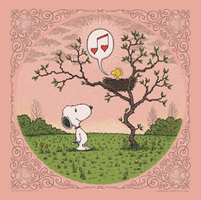 "Peanuts ""Woodstock's Song of Love"" Rose Edition Screen Print by Marq Spusta"