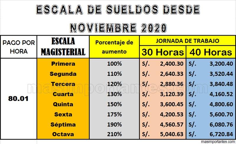 Escala de sueldos de docentes desde noviembre 2020