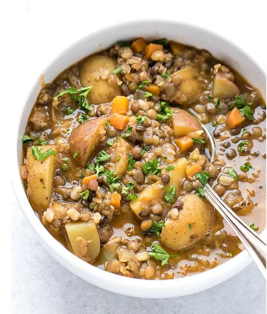 Supa de cartofi cu linte - reteta vegana/de post
