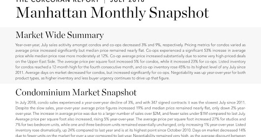 Manhattan Monthly Market Report July 2018
