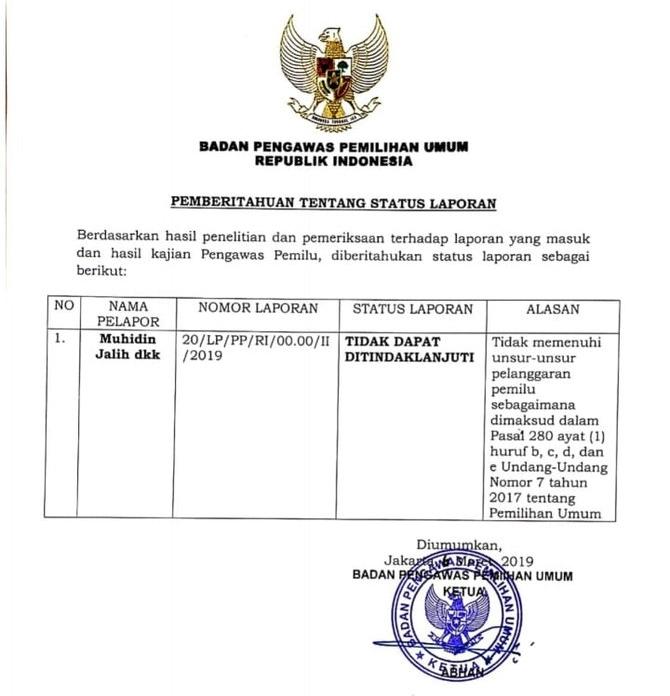 Bawaslu Hentikan Laporan Eggi Sudjana terhadap Jokowi