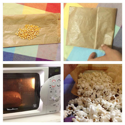 Você pode improvisar uma pipoca de microondas utilizando um saco de papel e o milho.