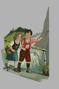 Berglandschaft mit Kindern