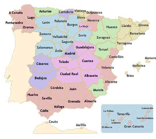 mapa espana provincias