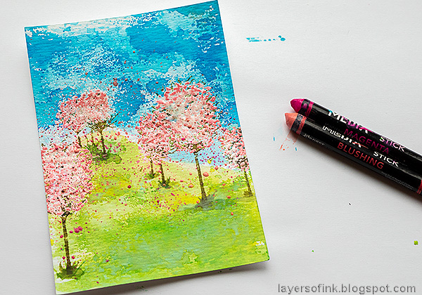 Layers of ink - Cherry Blossom Tree Tutorial by Anna-Karin Evaldsson. With Simon Says Stamp All Seasons Tree stamp set. Add splatters.
