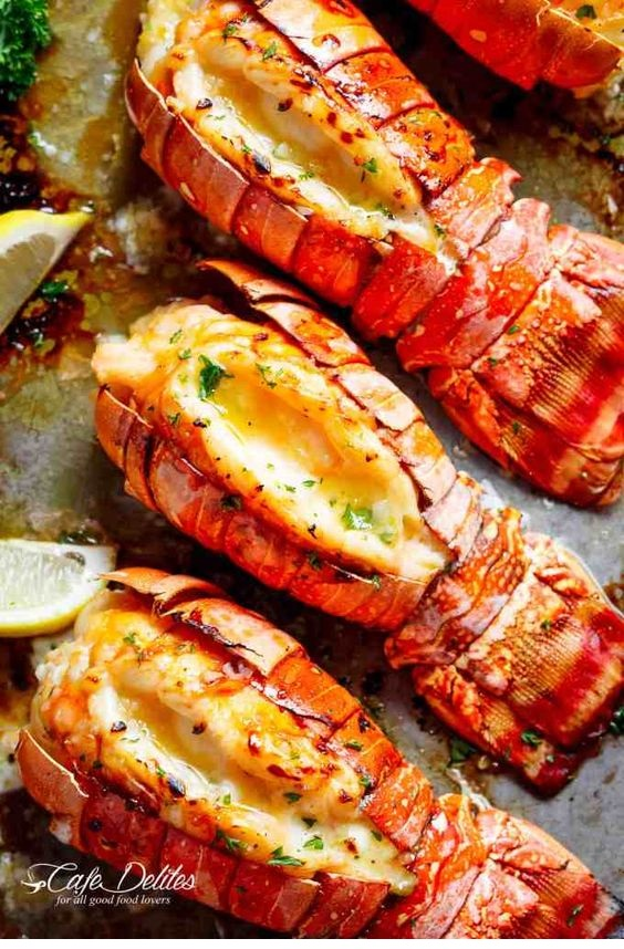 Lobster Tails With Honey Garlic Butter White Wine Sauce
