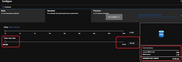 Azure Database with low storage