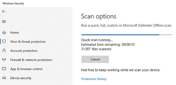Microsoft Defender Quick Scan