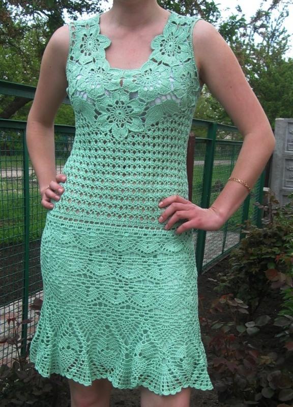 See how beautiful crochet dress crochet yarn made in green ...