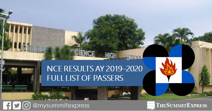 RESULT: PSHS 2018 NCE Passers for AY 2019-2020 out