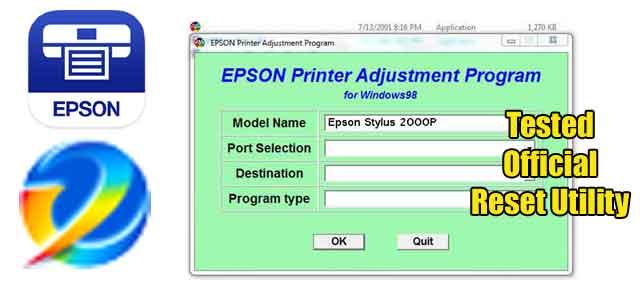 Epson Stylus Photo 2000P Adjustment program (Reset Utility) Free Download