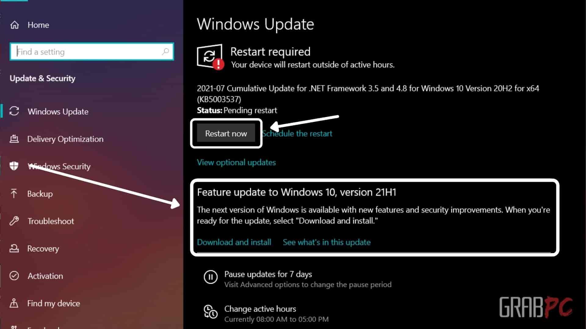 update settings menu