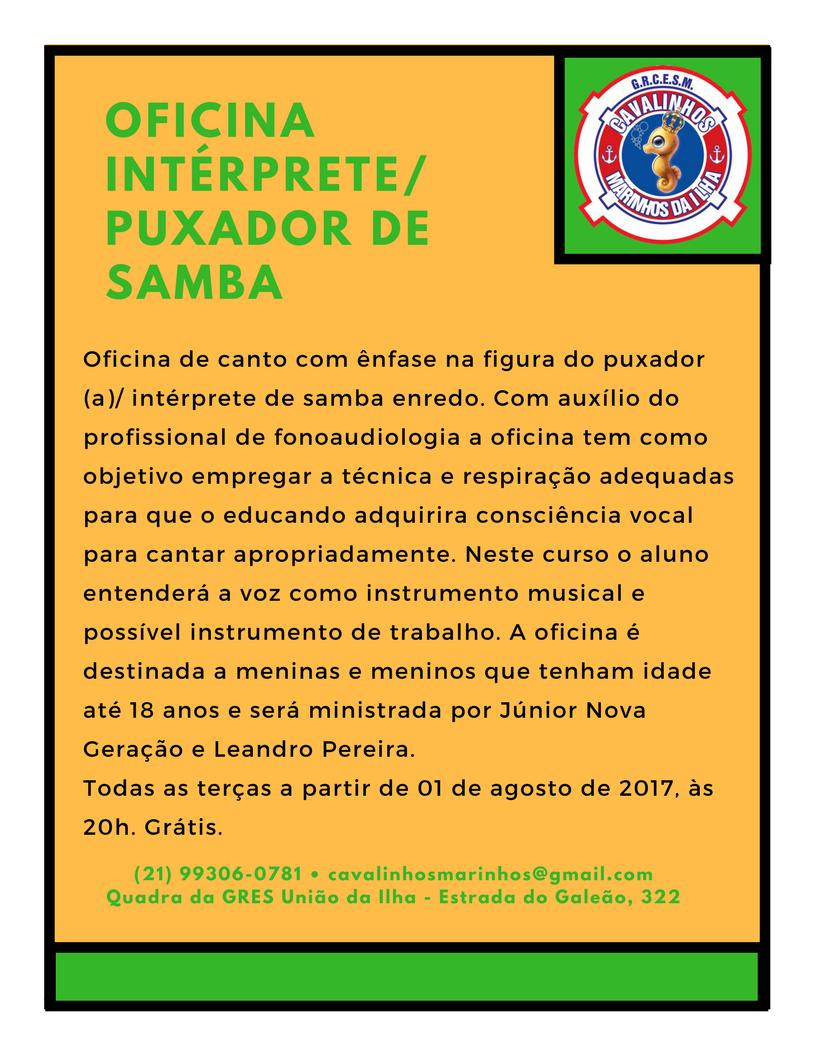 Cavalinhos marinhos da ilha abre inscri es para oficinas de carro de som e sambas folia do samba - Enredos de oficina ...