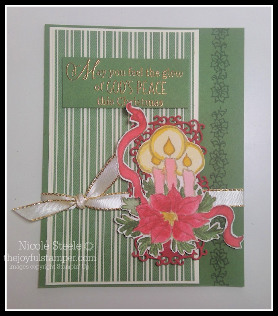 Christmas card using Stampin' Up!'s God's Peace stamp set, Toile Tidings Designer Series Paper, and no-line watercoloring by Nicole Steele The Joyful Stamper