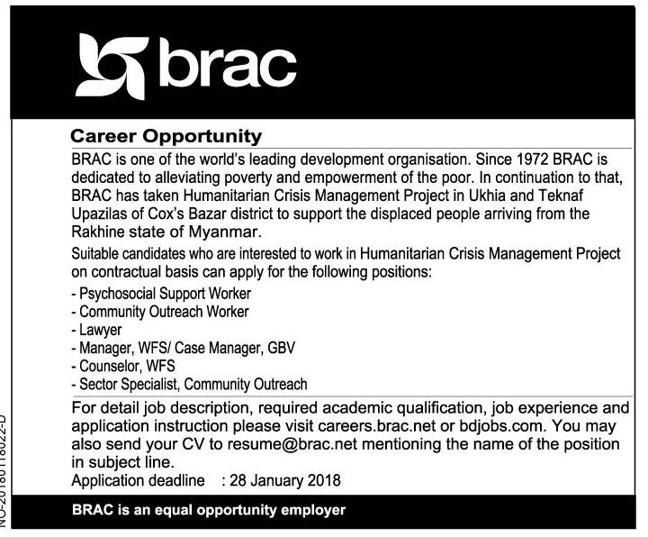 BRAC Job Circular Ukhia and Teknaf, Cox's Bazar 2018