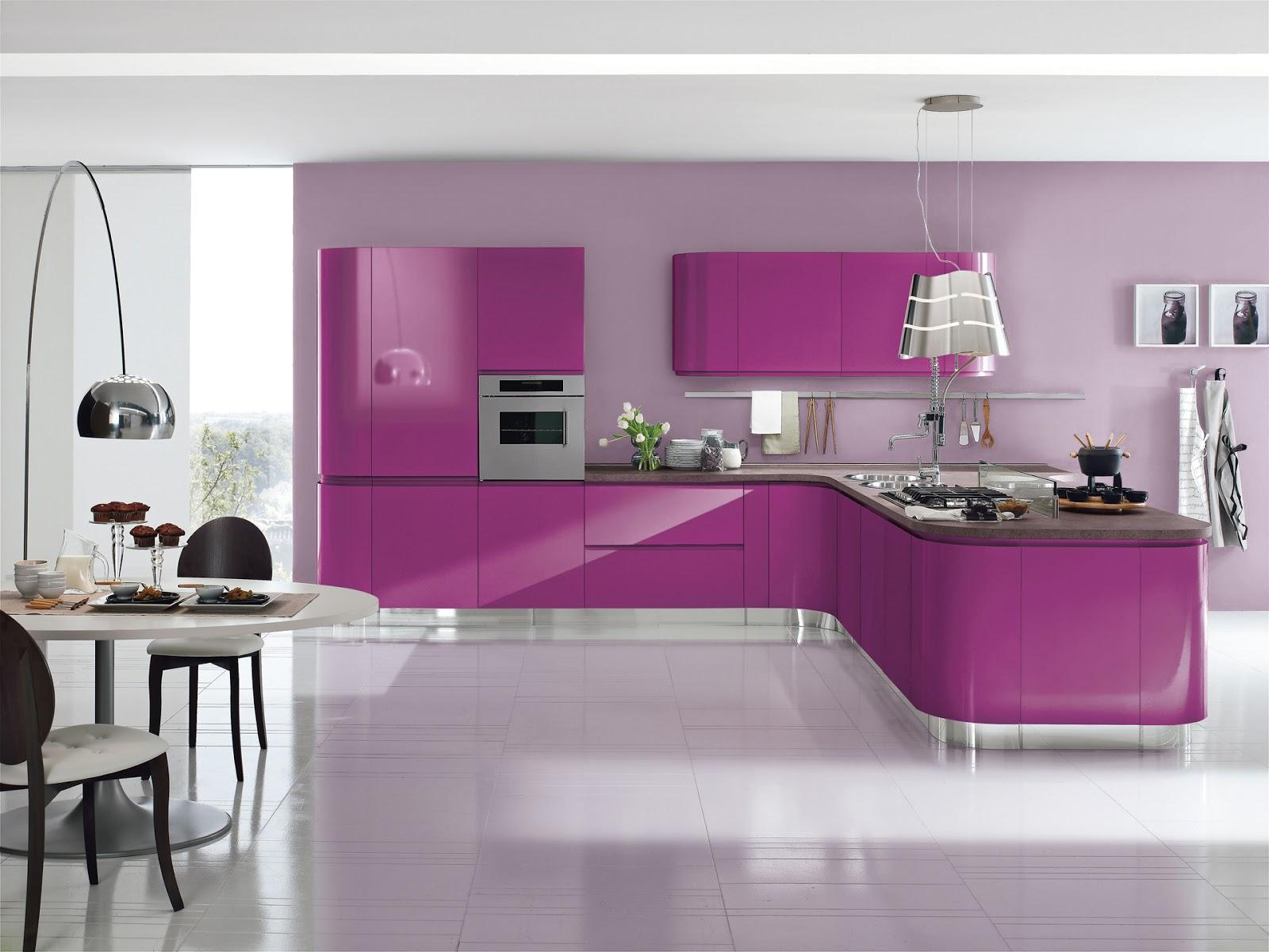 El acabado de la cocina brillo o mate cocinas con estilo - Cocina color lila ...