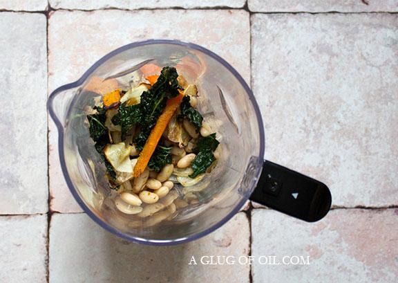 Roasted veg in a blender