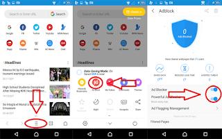 cara blokir iklan via UC Browser
