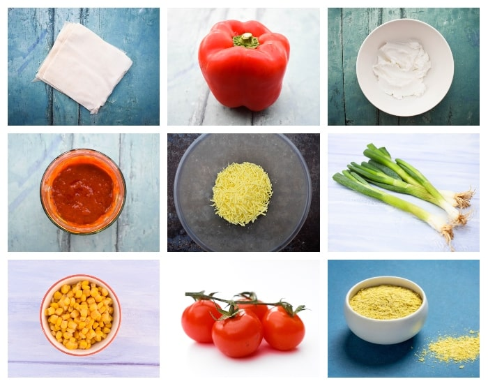 Ingredients to make vegan cheese and red pepper hand pies