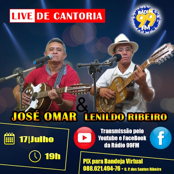 Folder Live de Cantoria dos Poetas José Omar & Lenildo Ribeiro