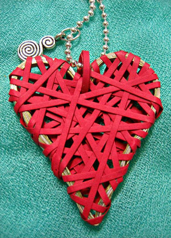 wrapped paper heart necklace