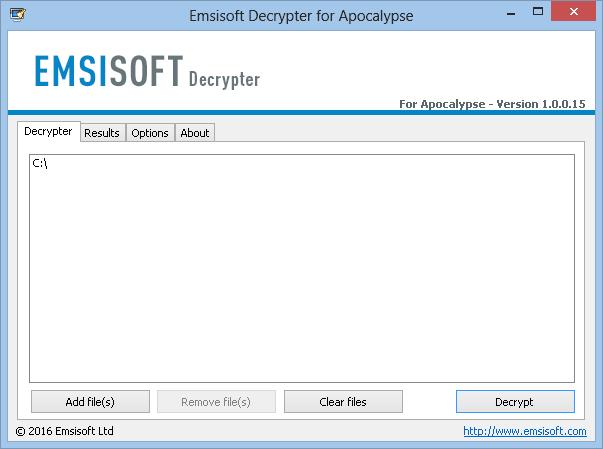 Emsisoft Decrypter for Apocalypse