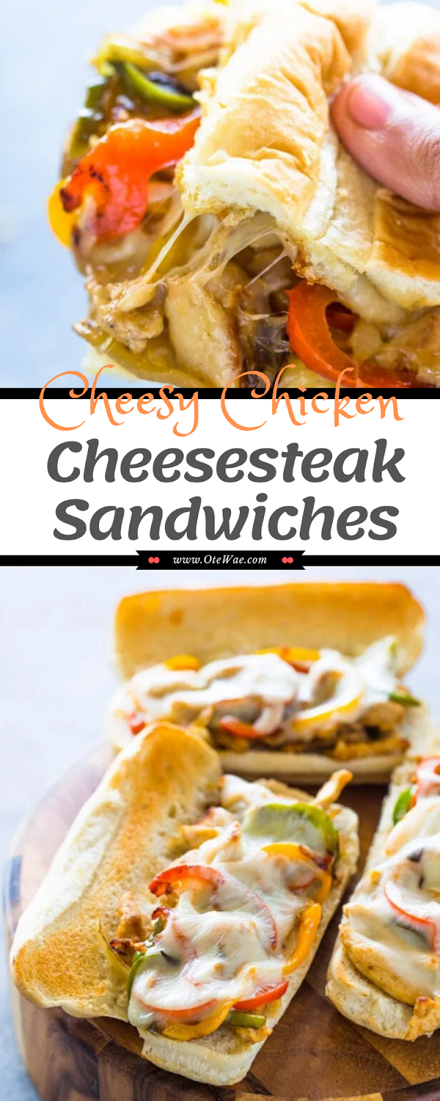 Cheesy Chicken Cheesesteak Sandwiches