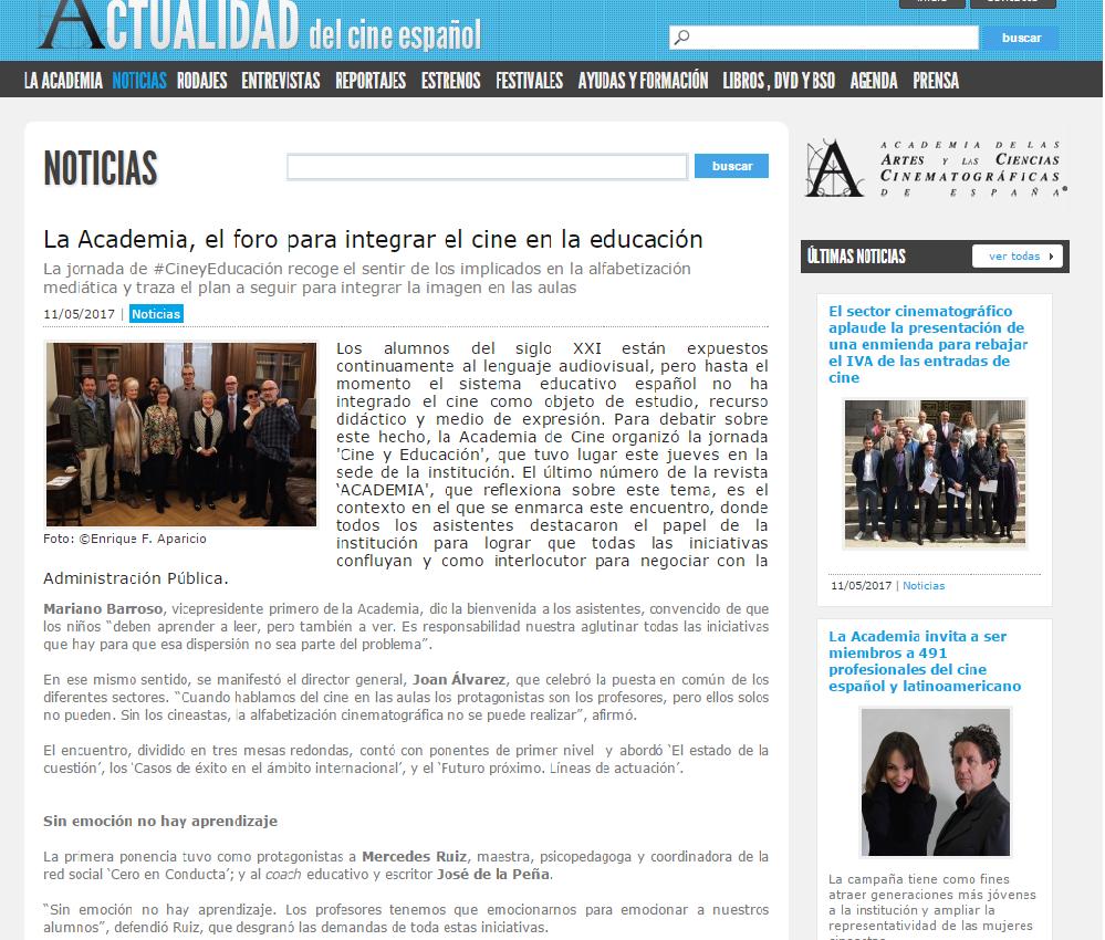 FORMANDO AL FUTURO ESPECTADOR. Educación y Cine van de la mano: mayo ...