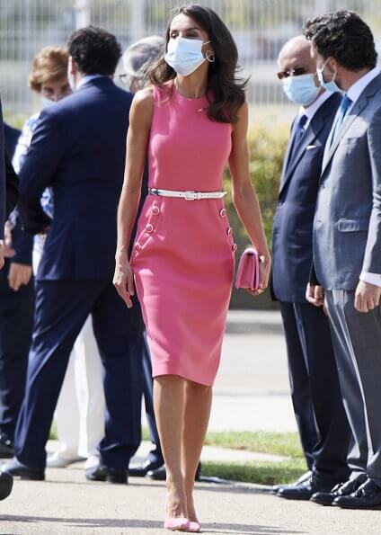 Queen Letizia wore a stretch wool dress form Michael Kors, and pink suede pumps from Magrit, carried Magrit clutch. First Lady Melania Trump