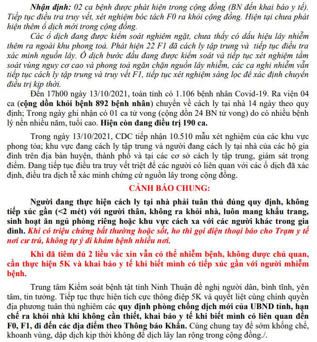 Ngày 13-10, Ninh Thuận ghi nhận 7 ca mắc Covid-19 mới