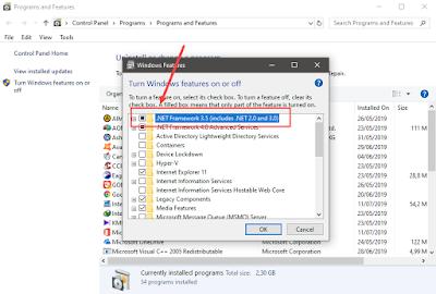 cara mengaktifkan net framework 3.5 offline di windows 10