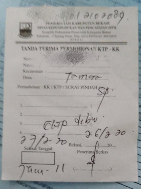 tanda terima dokumen disdukcapil