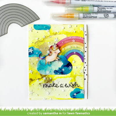 Make a Wish Unicorn Card by Samantha Mann for Lawn Fawnatics Challenge Blog, birthday card, alcohol inks, rainbow, handmade cards #lawnfawn #alcoholinks #birthday