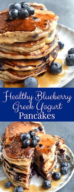 Healthy Blueberry Greek Yogurt Pancakes