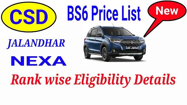 CSD Car Price List Nexa BS6 after New Car Policy Jalandhar