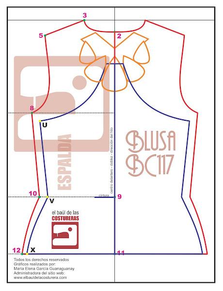 Moldería de Blusa espalda soutage Blusa BC117 Baul Costurera